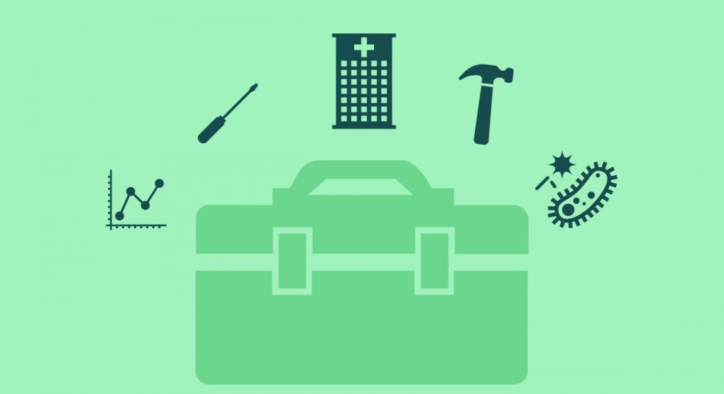 image of toolbox with hospital-related and tool-related icons around it